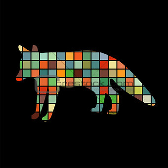 Fox wildlife color silhouette animal