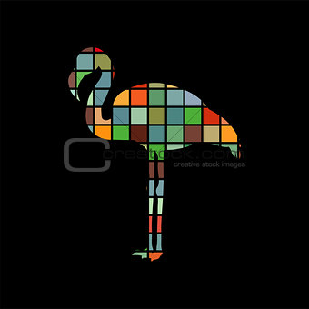 Flamingo bird color silhouette animal