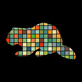 Beaver wildlife color silhouette animal