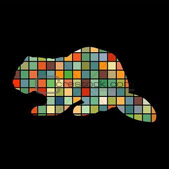 Beaver wildlife color silhouette animal