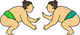 Rikishi Sumo Wrestler Face Off Mono Line