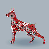 Alert Doberman Dog with stylized flowers over grey