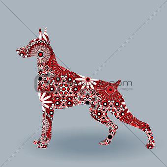 Alert Doberman Dog with stylized flowers over grey
