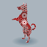 Standing Dog with stylized flowers over grey