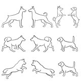 Set of ten dog outlines
