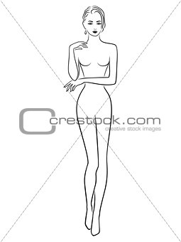 Abstract Slender Girl Outline
