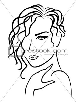 Abstract Lady with wavy and curly hair
