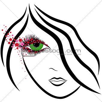 Abstract girl face with green eye and sakura florets