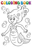 Coloring book mermaid topic 1