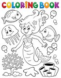 Coloring book mermaid topic 2