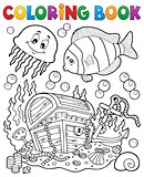 Coloring book treasure chest underwater
