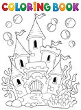 Coloring book underwater castle 1