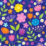Stylized flowers seamless background 2