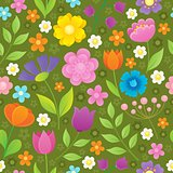 Stylized flowers seamless background 3