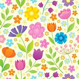 Stylized flowers seamless background 4