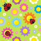 Stylized flowers seamless background 5