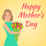 Happy Mothers Day. Woman with beautiful colorful flower.