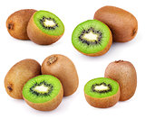 Set of ripe kiwi fruits isolated on white