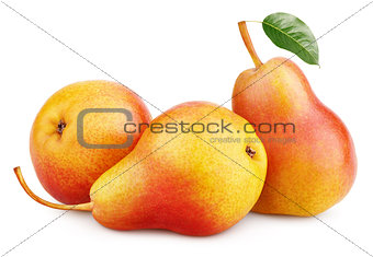 Three red yellow pear fruits with green leaf isolated on white