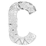 Letter C for coloring. Vector decorative zentangle object
