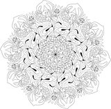 Hand drawn zentangle mandala for coloring page.