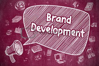 Brand Development - Cartoon Illustration on Red Chalkboard.