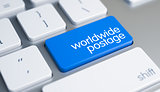 Worldwide Postage - Inscription on the Blue Keyboard Button. 3D.