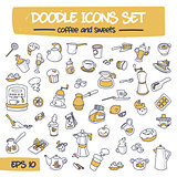 Thin Doodle Icons Set - Coffee and Sweets.