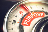 Purpose - Text on the Conceptual Gauge with Red Needle. 3D.