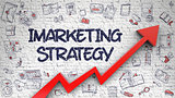 Imarketing Strategy Drawn on White Wall. 3d.