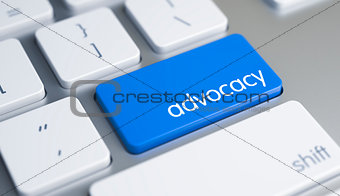 Advocacy - Inscription on Blue Keyboard Key. 3D.