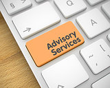 Advisory Services - Text on Orange Keyboard Button. 3D.