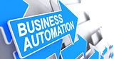 Business Automation - Message on Blue Arrow. 3D.