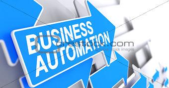 Business Automation - Message on Blue Arrow. 3D.