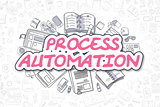 Process Automation - Cartoon Magenta Word. Business Concept.