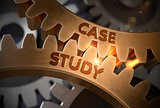 Case Study on Golden Metallic Gears. 3D Illustration.