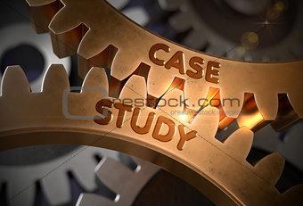 Case Study on Golden Metallic Gears. 3D Illustration.