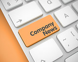 Company News - Text on Orange Keyboard Keypad. 3D.