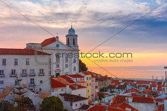 Alfama at cloudy sunrise, Lisbon, Portugal
