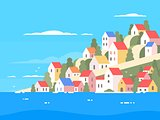 Houses on coast of Greece