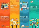 Webdesign, Development, Blogging, Freeance And Creative Time Concept