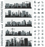 Industrial city skyline sets with icons