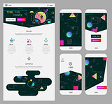Abstract geometric UI screens mockup And One Page Website Design kit
