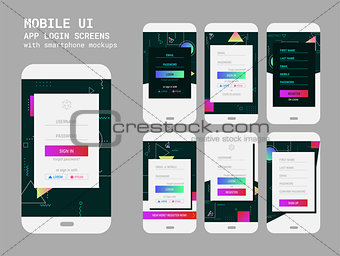 Abstract geometric UI Sign In and Sign Up screens mockup kit