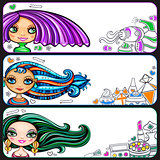 Fashion girls banner set