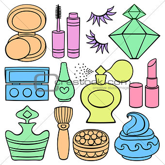 Flat Icon set: make up, beauty and fashion supplies.