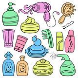 Icon set: make up, beauty and fashion supplies.