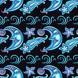 Seamless pattern with cute moon