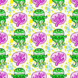Seamless nautical pattern. Coral Jellyfish background.