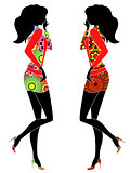 Abstract stylized slender women in ornate dresses